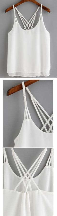 White Spaghetti Strap Loose Cami Top