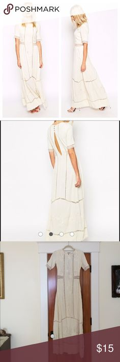 """Asos embroidered lace maxi dress Stunning Asos cream maxi dress with floral embroidery and lace insets. Back keyhole detail. So pretty. Boho style. Fabric tag was removed but feels like a silk crepe blend. Note: this has some wear, there are some faint discolored spots as shown, they really are not noticeable when worn. I have not tried to remove them, therefore you would need to get it professionally cleaned. (Or you could hem the dress and make it shorter). Length 55"""" pit to pit 16"""". Waist…"""