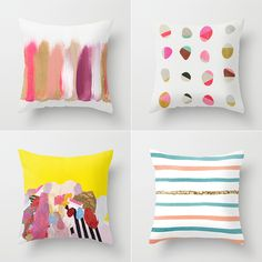 I love the top left cushion - what a great way to introduce colour into a scheme    Bright and Abstract Cushions from Society6