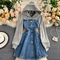 Girls Fashion Clothes, Teen Fashion Outfits, Womens Fashion, Korean Girl Fashion, Look Fashion, Korean Outfits, Trendy Dresses, Cute Casual Outfits, Jeans Dress