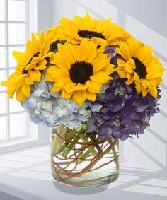 hydrangeas and sunflower wedding bouquet - Google Search
