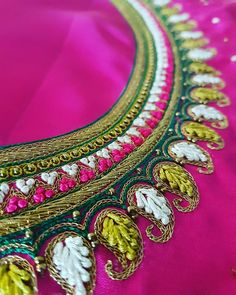 Best 12 ————- Wedding Blouses ———— A blouse i absolutely loved making. Hot pink silk blouse with contrast french knot and beads… Cutwork Blouse Designs, Wedding Saree Blouse Designs, Simple Blouse Designs, Blouse Neck Designs, Wedding Blouses, Hand Work Blouse Design, Aari Work Blouse, Simple Embroidery Designs, Maggam Work Designs