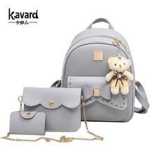 Kavard escuela morral de la manera mujeres de la pu leather back pack famosa marca bolsas para Niñas femme sac a dos con Monedero y Oso 2017