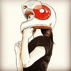 Bike girls by Chris (instagram starvin_artist28) #illustration #bikegirls #motorcyclesgirls | caferacerpasion.com