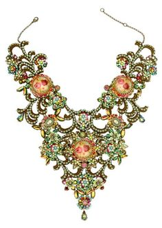 Michal Negrin Jewelry Multi Cameo Crystals Necklace - 999