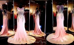 Light Pink-Gold formfitting Mermaid Pageant Prom Dress-Train-Illusion Bodice-High Neckline-115AMA0123900560 at Rsvp Prom and Pageant, Atlanta, GA