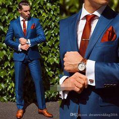 Wedding Suit (Jacket Pant Tie Handkerchiefs)Bule Wedding Suit For Men Formal Groom Bestmen Suits Custome Fashion Tuxedos Brand Clothing Suits Sharp Dressed Man, Well Dressed Men, Costume Marie Bleu, Suit Fashion, Mens Fashion, Fashion Clothes, Blue Suit Men, Red Suit, Blue Suits