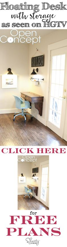 Get the FREE plans to build your own DIY Floating Desk, as seen on HGTV's Open Concept! Love the storage!!!