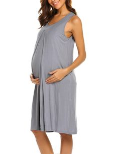 2bf54631ee125 Maternity Fashion - Aimado Women Maternity Nursing Nightgown Sleeveless  Loose ONeck Pregnancy Breastfeeding Sleepwear Dress