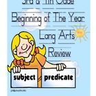 This is a 20 page Common Core Language Arts review that can be used at the beginning of the year to help students review previously learned languag...