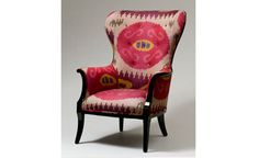 Hollywood Regency Wing Chair in Plum Ikat -- Madeline Weinrib Interior Design Elements, Unique Furniture, Victorian Furniture, Classic Furniture, Take A Seat, Upholstered Furniture, Cool Chairs, Creations, Ikat