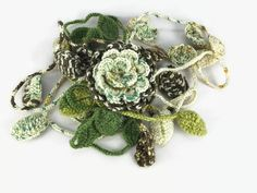 Earth colors hand crochet leaf  scarf with removable by Nakkashe