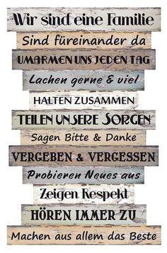 Vintage Details zu Wandbild Dekoschild Familienregeln Holz Bild Deko Spr che Dekoration Schild