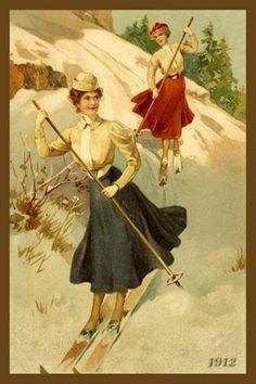 Women Sking Wintersports with deer hooves Vintage Postcards, Vintage Photos, Ski Posters, Vintage Christmas Images, Vintage Ski, Winter Fun, Beauty Art, Vintage Advertisements, Winter Wonderland