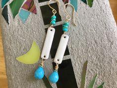 Hand Made Earrings, Enamel / Gemstone Bar Earrings, White / Blue Earrings, Sterling Silver, 14k Gold Filled by GloriaJanell on Etsy