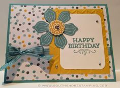 Birthday Card using Bloom For You and Hey You from the Stampin' Up! 2014-2015 catalog by Emily Mark SU demo Greenfield Park, Quebec www.southshorestamping.com
