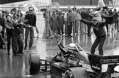 1985 - Portugal - Lotus - Ayrton Senna and Peter Warr