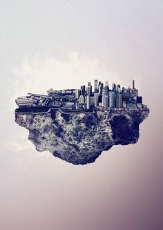 Floating City Island Sydney - Digital Artwork by Reinhard Krug
