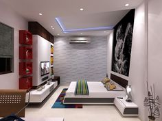 A bold and dynamic room designed for a college going boy compete with the symbolic wall graphic.