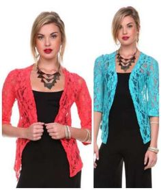 great way to dress up an outfit. lace 3/4 sleeve cardigan