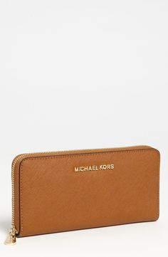 $83 - MICHAEL Michael Kors 'Jet Set' Saffiano Zip Around Wallet