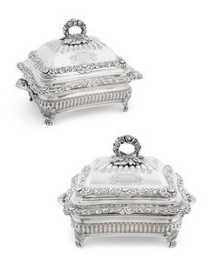 A pair of Important Regency sterling silver covered entrée dishes on Sheffield plated stands from the Foley service by Benjamin Smith III, London, 1819 Entree Dishes, Serving Dishes, Plate Stands, Floral Border, Silver Stars, Sheffield, Gold Pendant, Antique Silver, Plating
