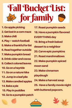 The ultimate fall bucket list ever for families! This is a great list of fun fall activities to do in These awesome DIY autumn activities are perfect for kids and for toddlers and even for teens! Your going to love this list and the other on this pa Herbst Bucket List, Fun Fall Activities, Family Activities, September Activities, Indoor Activities, Thing 1, Happy Fall Y'all, Fall Family, Fall Diy
