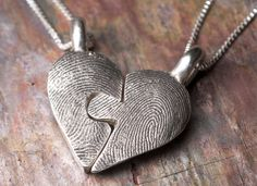 Custom & Personalized Fingerprint Puzzle Necklace Piece by Rock My World, Inc. in Sterling Silver via Etsy.com