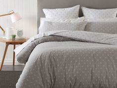 Take a fresh approach with the Crispin quilt cover; a stylish and modern design suited to any home. In a contemporary colour palette of silver and white, this reversible woven cotton yarn dye design is finished with a spot pattern front and reverse.