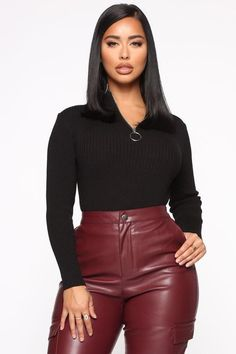 Need To Know You Quarter Zip Sweater - Black Fashion Nova Models, Sexy Jeans, Zip Sweater, Girls Jeans, Cut And Style, All Fashion, Black Sweaters, Leather Skirt, Leather