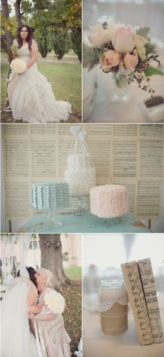 I like the use of sheet music behind the cakes.