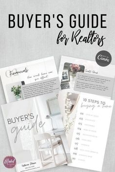 This Real Estate Buyer's Guide for Realtors is exactly what you need to present yourself to buying clients in a professional way. � Simply edit anything you like in the free version of Canva. � Edit things like text, fonts, pictures, colors Real Estate Buyers, Real Estate Business, Real Estate Tips, Real Estate Marketing, Home Buying Process, Buying A New Home, Marketing Ideas, Marketing Materials, Sell House Fast