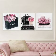 Oliver Gal 'It's All Roses' 3 Piece Graphic Art Print Set on Canvas Chanel Wall Art, Chanel Decor, Fashion Wall Art, Fashion Room, Fashion Decor, Living Room Decor, Bedroom Decor, Wall Decor, My New Room