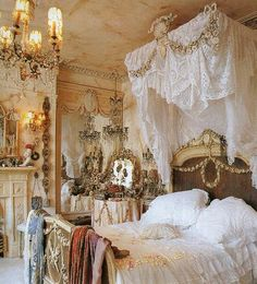 so love this shabby chic bedroom filled with gesso trim bed....lace, and more stuff....
