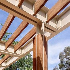 shade canopy detail ucdavis university california davis king hall arbor shade structure canopy detail architecture design wood metal ibeam channel c steel joint connection material beautiful texture Backyard Canopy, Canopy Outdoor, Outdoor Pergola, Pergola Ideas, House Canopy, Patio Canopy, Canopy Tent, Patio Ideas, Backyard Ideas