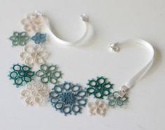 Sposa accessorio: handmade tatted collana floreale bianco di smaks