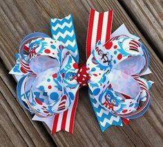 Cat in the Hat Layered Hair Bow by MiaBellaCrafting on Etsy