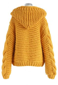 All-Over Warmth Hooded Chunky Cardigan in Mustard - BUYER'S PICK - Retro, Indie and Unique Fashion shading All-Over Warmth Hooded Chunky Cardigan in Mustard yellow XS Crochet Dress Outfits, Winter Dress Outfits, Fall Fashion Outfits, Knit Fashion, Outfit Winter, Stylish Outfits, Crochet Jacket, Knit Jacket, Knit Crochet