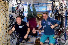 "Celebrating ""flight day 100"" with @AstroSamantha and @AntonAstrey"