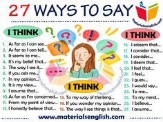 26 Ways to Say I THINK in English English Exam, Learn English Grammar, Learn English Words, English Language Learning, English Study, English Vocabulary, English Teaching Materials, English Writing Skills, English Lessons