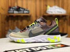 meet 4e8b6 31aff 2018 Nike React Element 87 Cool Grey Volt Green Shoes Green Shoes, Sneakers  Nike,