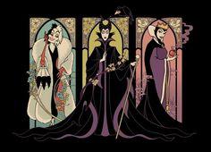 Disney Villains tee - Mistresses of Evil, Maleficent, the Evil Queen, and Cruella de Vil Dark Disney, Evil Disney, Disney And More, Disney Love, Disney Magic, Disney Couples, Art Nouveau Disney, Disney E Dreamworks, Disney Pixar