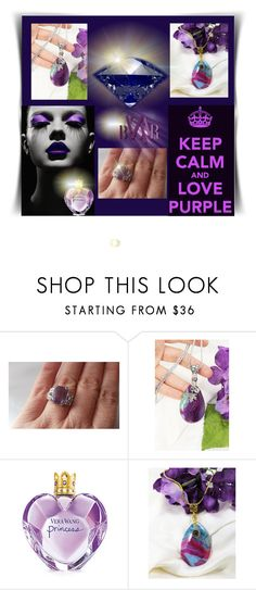 """""""keep calm and love purple"""" by adelemarano ❤ liked on Polyvore featuring Vera Wang, vintage, etsy, jewelers and etsyfru"""