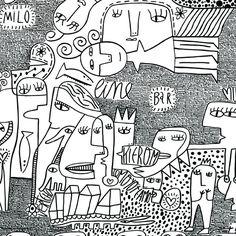 somos uno! Mágico Milo Lockett Doodles Zentangles, Arte Pop, Art For Art Sake, Woodblock Print, Designs To Draw, Sketches, Black And White, Drawings, Kindergarten