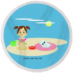 """Cathy And The Cat Have A New Friend Round Beach Towel by Laura Greco.  The beach towel is 60"""" in diameter and made from 100% polyester fabric."""