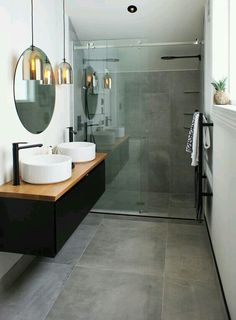What is an ensuite bathroom? It is kind of private bathroom which is connected to the bedroom. This bathroom usually is attached to the master bedroom. It may have no different from any usual bathroom Small Bathroom Tiles, Ensuite Bathrooms, Laundry In Bathroom, Modern Bathroom, Bathroom Grey, Shower Tiles, Shower Doors, Industrial Bathroom, Bathroom Vanities