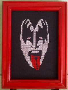 """Gene Simmons"" - From CrassCross. The cross stitch pattern to make this piece is available for just $5. http://crasscross.com/collections/celebrity-patterns/products/gene-simmons-cross-stitch-pattern-chart"