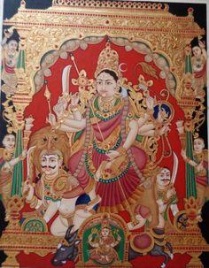Mysore Painting, Tanjore Painting, Krishna Hindu, Durga, Most Beautiful Paintings, Indian Folk Art, Mother Goddess, Traditional Paintings, Gods And Goddesses