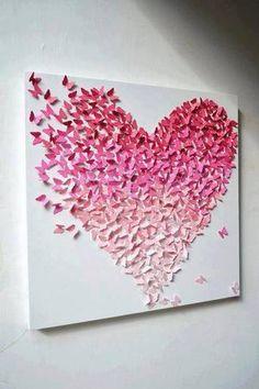 Bekijk de foto van Ploink met als titel vlinders vormen een hart (op canvas geplakt) en andere inspirerende plaatjes op Welke.nl.