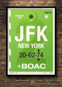 Flight Tag Prints - JFK Neil Stevens Cassette retro vintage poster illustration graphic design